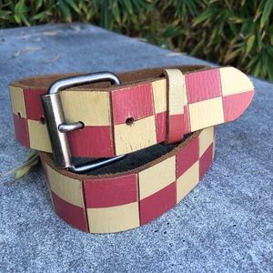 80's Checkered White & Red Leather  Belt